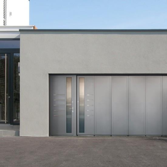 Aluminium-Seitensektionaltor Motiv Dimesso Aluminium-Deckensektionaltor für Carport mit angebauter Tür TA 4000